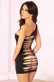 Black One Shoulder Slash Cut Out Back Mini Dress