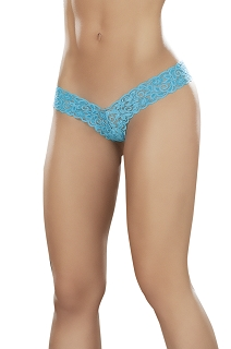 Turquoise Glow Under Blacklight V Front High Rise Back Lace Thong