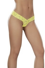 Hot Yellow Glow Under Blacklight V Front High Rise Back Lace Thong
