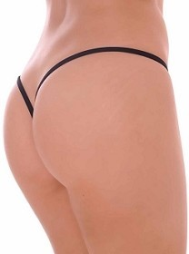 Black Premium Lined V Back Thongs