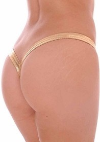 Gold Butterfly Thick Band Side Scrunch V Back Thong