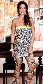 Yellow Cheetah Strappy Side Tube Dress