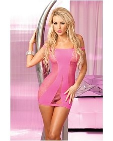 Pink Seamless Cutout Mini Dress