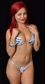 Silver Seductive Tiger Mini Thong with Bikini Bra Top