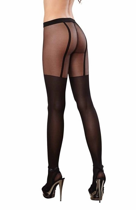 Pantyhose With Opaque Knitted Garter With Thigh High Stocking Detail