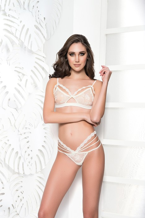 Ivory Multi Lace G String with Lace Bralette