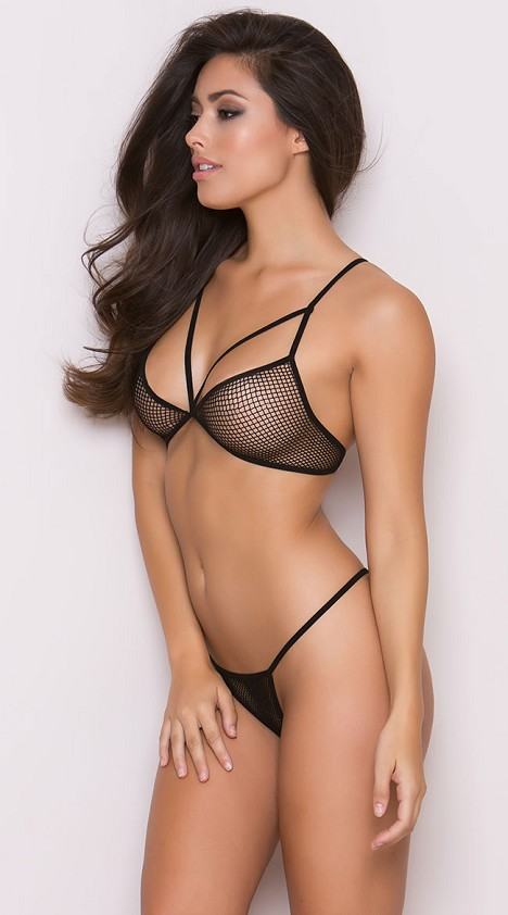 Black Revealing Strap Fishnet Bra with G-Sting