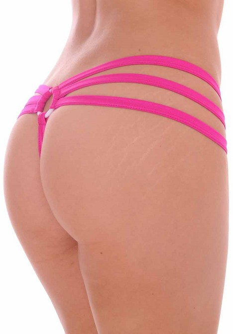 Strappy Triple Band Thong with Ring Back