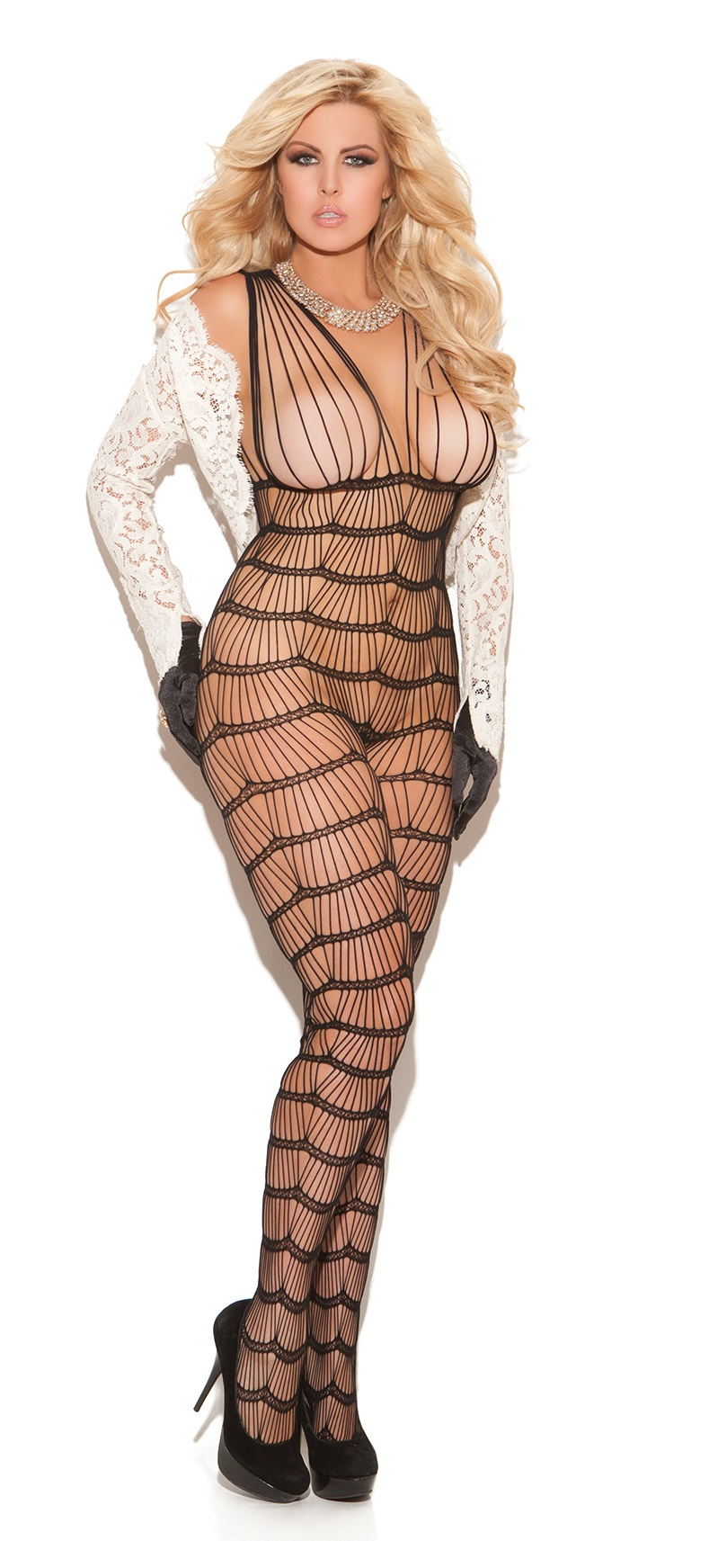 Plus Size Stretch Lace Halter Bodystocking by Shirley of
