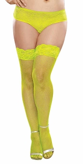Plus Size Neon Lime Stay Up Fishnet Thigh High Stocking with Back Seam