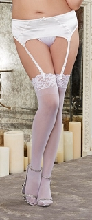 Plus Size White Sheer Thigh High Stocking with Lace Top