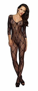 Black Erotic Long Sleeve Lace Bodystocking