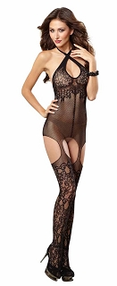 Black Versatile Halter Fishnet Garter Dress with Attached Thigh Highs