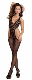 Black Fishnet Halter Bodystocking With Cut Away Sides