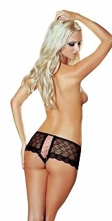 Black and Pink Lace Open Crotch Shorts with Contract Lace-up Detail in Back