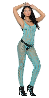 Turquoise Crochet Pothole Bodystocking with Open Crotch