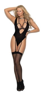 Black Deep V Opaque Teddy with O Rings and Adjustable Garters