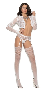 White Crochet Suspender Pantyhose