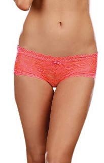 Coral Stretch Lace Low Rise Cheeky Hip Hugger Panty with Scalloped Lace and Satin Bow Trim
