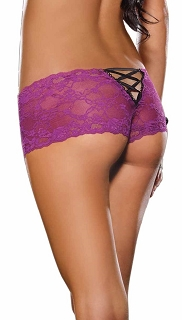 Orchid Lace Cheeky Boyshort with Satin Ribbon Lace-up back with Bow