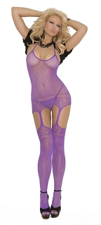 Purple Halter Neck Suspender Bodystocking with Cut Out Design