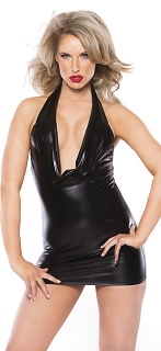 Black Kitten Wet Look Cowl Neck Dress