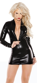 Kitten Black Wet Look Long Sleeve Zipper Dress