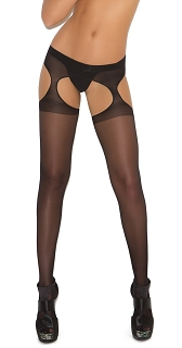 Black Sheer Suspender Pantyhose