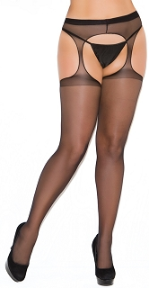 Plus Size Black Sheer Suspender Pantyhose
