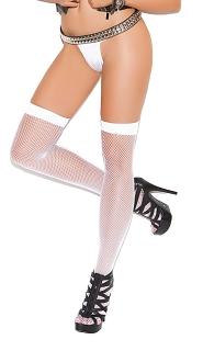 White Fishnet Thigh Highs with Back Seam