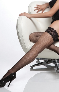 Black Fishnet Stay Up Silicone Lace Top Thigh High with Back Seam
