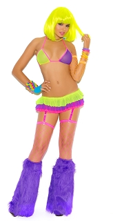 Neon Mesh String Bra with Skirt, Attached Thong and Adjustable Garters