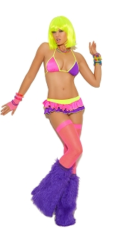 Neon String Bra Top with Mini Skirt and Attached Thong