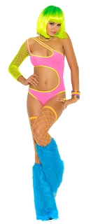 Neon One Shoulder Teddy with Fishnet Sleeve and Side Cut Outs
