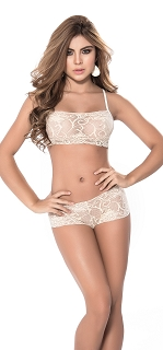 Nude Two Piece Lace Cami with Low Rise Boyshort Set