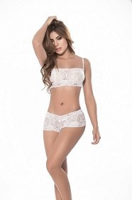 White Two Piece Lace Cami with Low Rise Boyshort Set