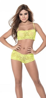 Yellow Two Piece Lace Cami with Low Rise Boyshort Set