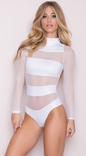 White Sheer Mesh Banded Bodysuit