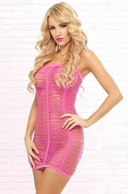 Pink Shredded Seamless Tube Dress