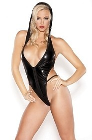 Kitten Black Wet Look Hooded Temptress Teddy