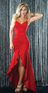 Red Strappy Ruched Gown