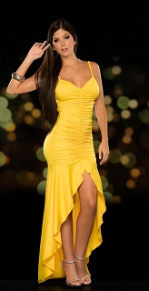 Yellow Strappy Ruched Gown
