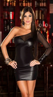 Black Wet Look One Shoulder Dress