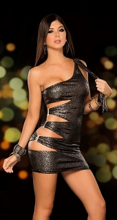 Metallic One Shoulder Mini Dress with Cut Out Side