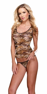 Camouflage Lycra Net Camisole with Camo Thong