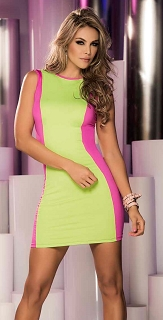 Neon Green Reversible Mini Dress