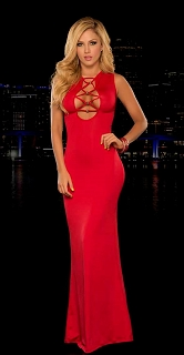 Red Criss Cross Front and Back Gown