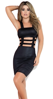 Black Cage Mid Section Dress