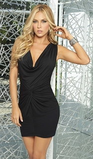 Black Sleeveless Silhouette Plunging Neck Mini Dress