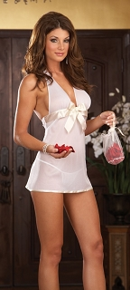 White Satin Bow Babydoll with Thong plus Keepsake Purse with Rose Petals
